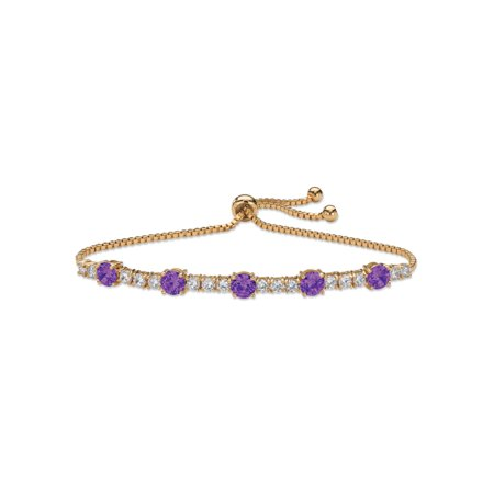 14k Pink Sapphire Bracelet - Round Birthstone and Cubic Zirconia Adjustable Bolo Drawstring Bracelet 1.60 TCW 14k Gold-Plated 10