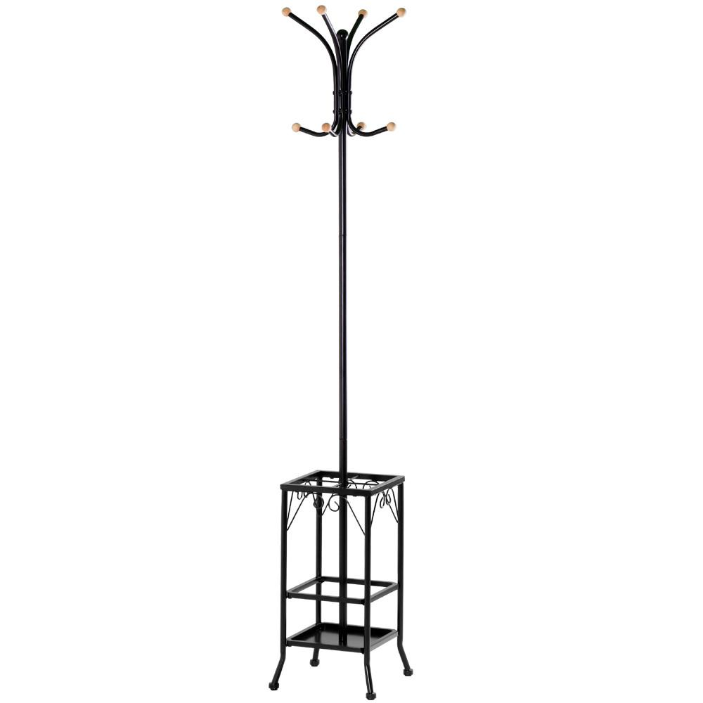 Standing Entryway Coat Rack Hat Clothes Hanger Hooks Tree Stand With  Umbrella Holder For Home Or
