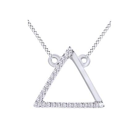 Diamond Triangle Necklace - Round Cut White Natural Diamond Triangle Pendant Necklace In 14k White Gold