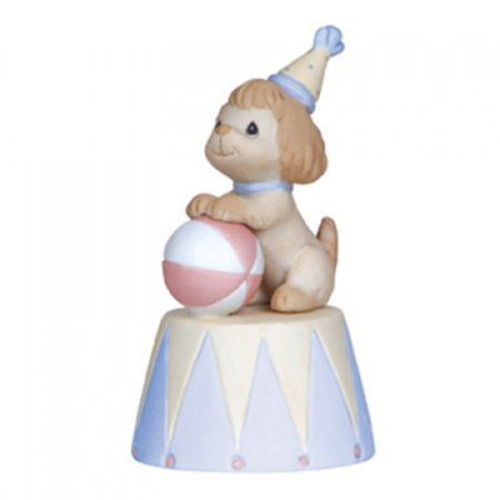 Precious Moments Dog with Ball Figurine - Hope You Have A Ball #123027 Share a happy message with someone leaving for a trip, starting a new school, retiring, getting married - the opportunities are endless! This circus puppy sends good wishes as he perches his paws atop a colorful ball.