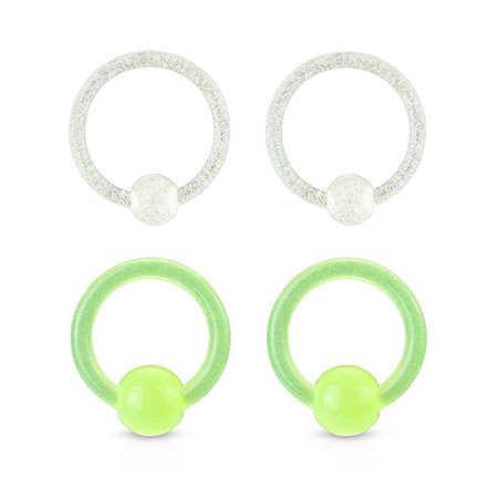Two Pairs of Glow in the Dark Captive Bead Rings - Gauge Colorful Captive Bead Rings