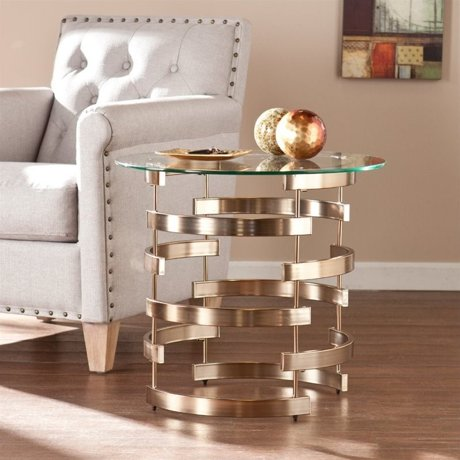 Southern enterprises belmar round end table in champagne for Table 6 2 ar 71 32