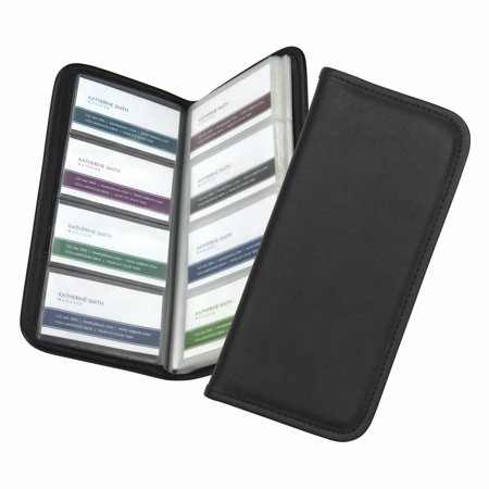 Samsill Professional Business Card Organizer With Padded Cover  File Holds 160 Business Or Credit Cards  Black