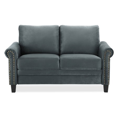 Fallon 2-Seat Microfiber Rolled Arms w/ Nail head Trim Loveseat, Charcoal ()