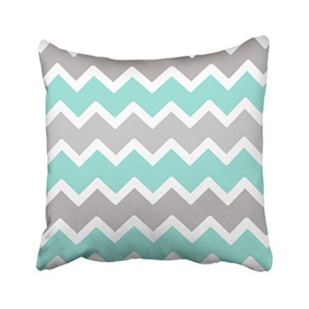 WinHome Decorative Aqua Blue White and Gray ZigZag Pattern Throw Pillow Classic Stripes Pattern For Decoration Pillow Case Zipper Brief Design Pillowcase Cover Size 18x18 inches Two Side