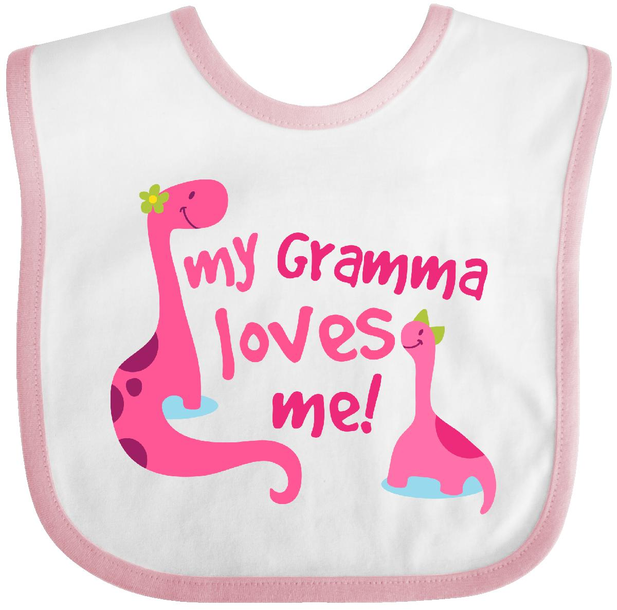 Inktastic My Gramma Loves Me Girls Gift Baby Bib Granddaughter From Dinosaur For