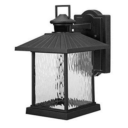 Hampton Bay Lumsden Wall Mount Outdoor Black Led Motion