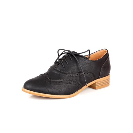 Brogue Women Lace Up Wing Tip Oxford College Style Flat Fashion Shoes Size - Wing Tip Oxford Lace