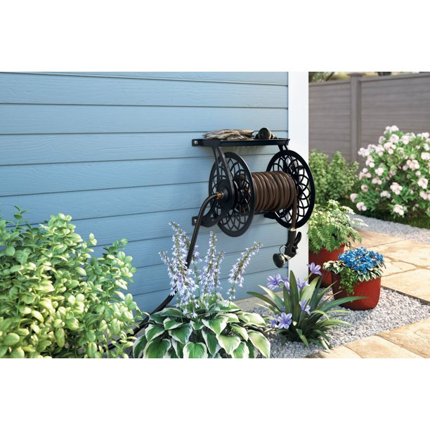 Suncast 125 Ft Slide Trak Decorative Metal Wall Mount Garden Hose Reel With Shelf Black Walmart Com Walmart Com