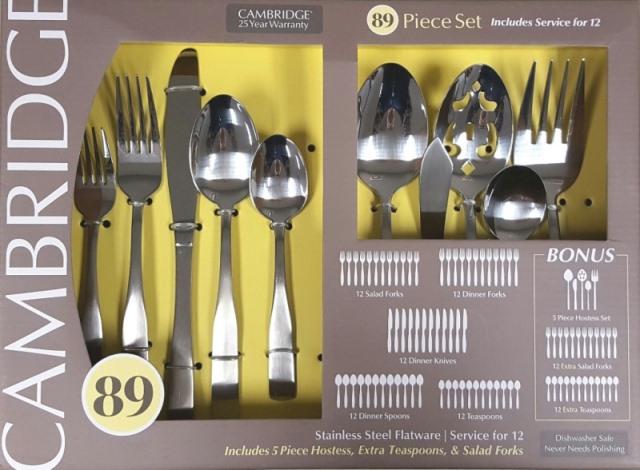 Service for 12 Cambridge 89-Piece Flatware Silverware Set with 5-PC Hostess Set