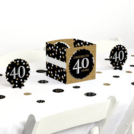 Adult 40th Birthday - Gold - Birthday Party Centerpiece & Table Decoration Kit