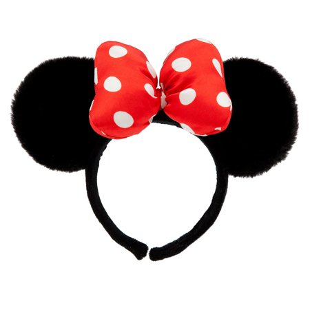 Disney Mouse Ears Headband (Disney Parks Minnie Mouse Satin Bow Dots Plush Ears Headband New with)