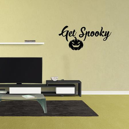 Get Spooky Halloween Door Decal Halloween Wall Sign Pumpkin Decoration
