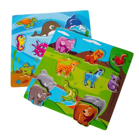 Eliiti Wooden Puzzle Set for Toddlers 2 to 4 Years Old - Safari, Sea