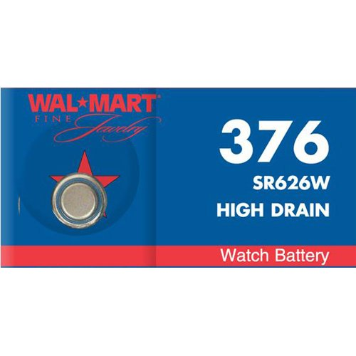 Walmart Mercury-Free Silver Oxide 376 Watch Battery
