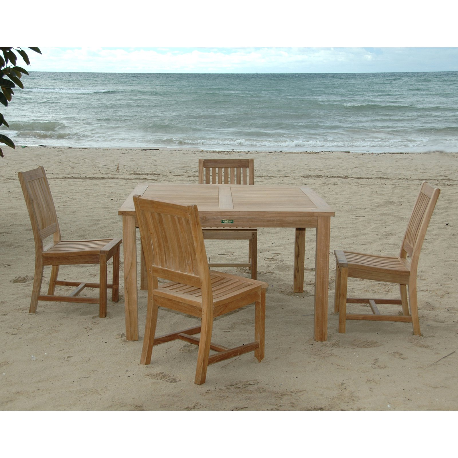 Anderson Teak Rialto 5 Piece Square Patio Dining Room Set by