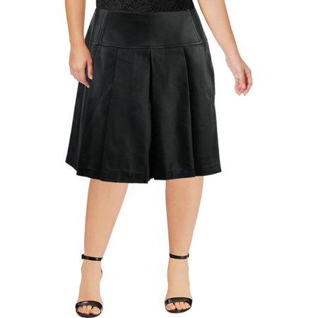 eb313de9ac MICHAEL Michael Kors - MICHAEL Michael Kors Womens Plus Faux Leather Pleated  Pleated Skirt - Walmart.com
