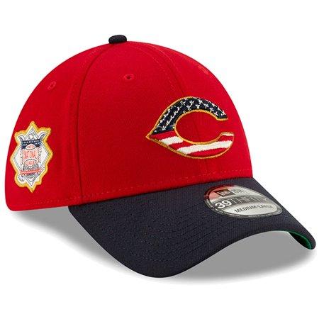 Cincinnati Reds New Era 2019 Stars & Stripes 4th of July 39THIRTY Flex Hat - Red/Navy