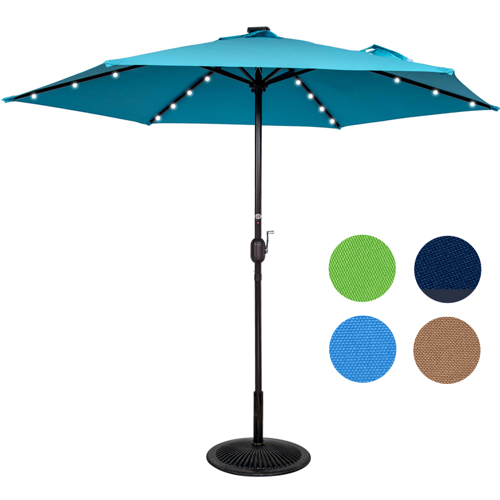 Sundale Outdoor 9ft 24 Led Light Outdoor Market Patio Umbrella Garden Pool  With Crank, 6