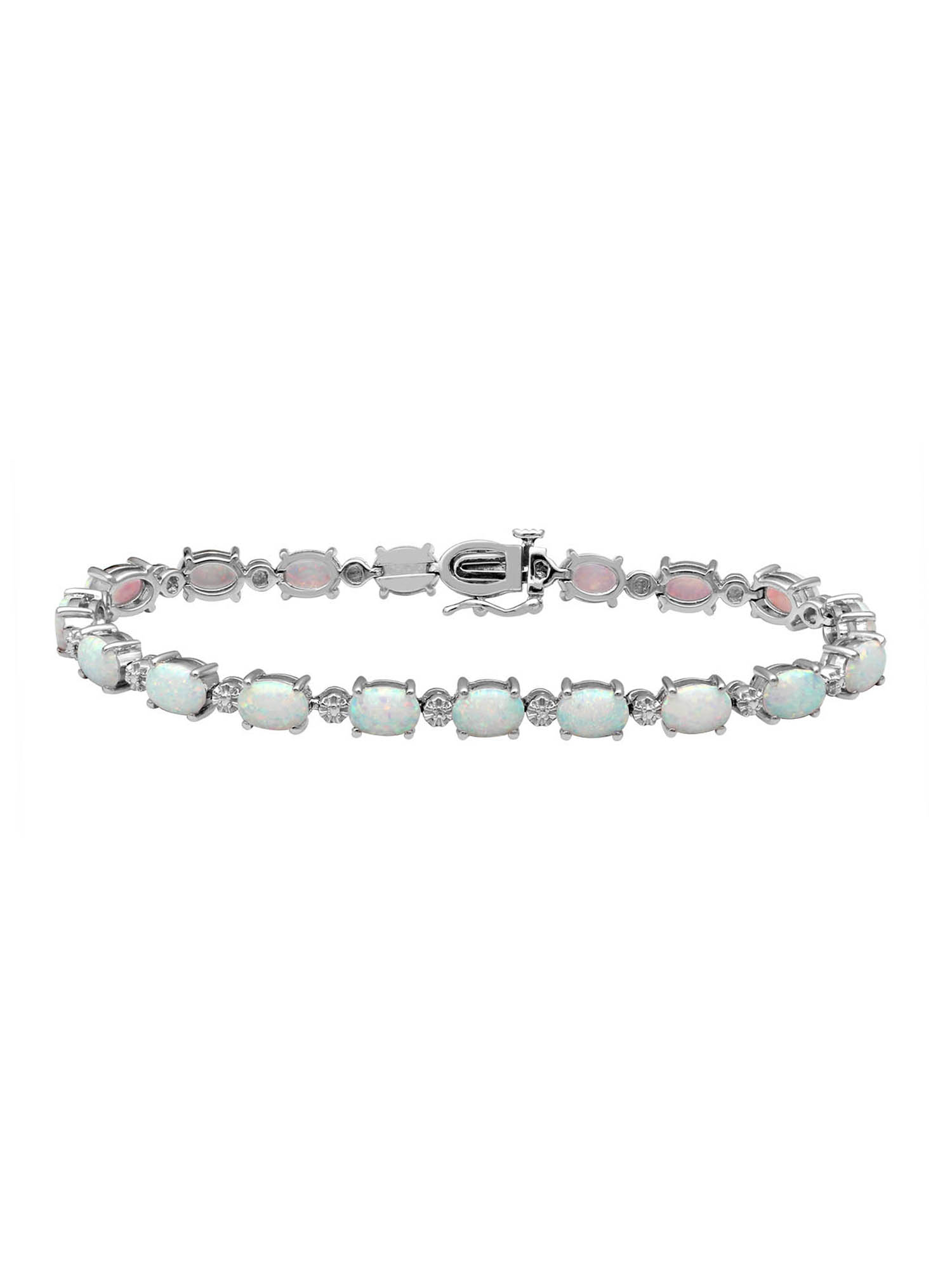 Created Opal and White Cubic Zirconia Sterling Silver Tennis Bracelet by Generic