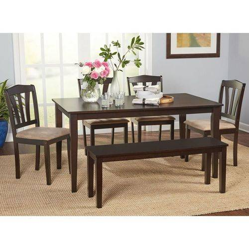 Saddle Brown Round Table And 4 Kitchen Chairs 5 Piece: Metropolitan 6-Piece Dining Set Bench Espresso Chairs