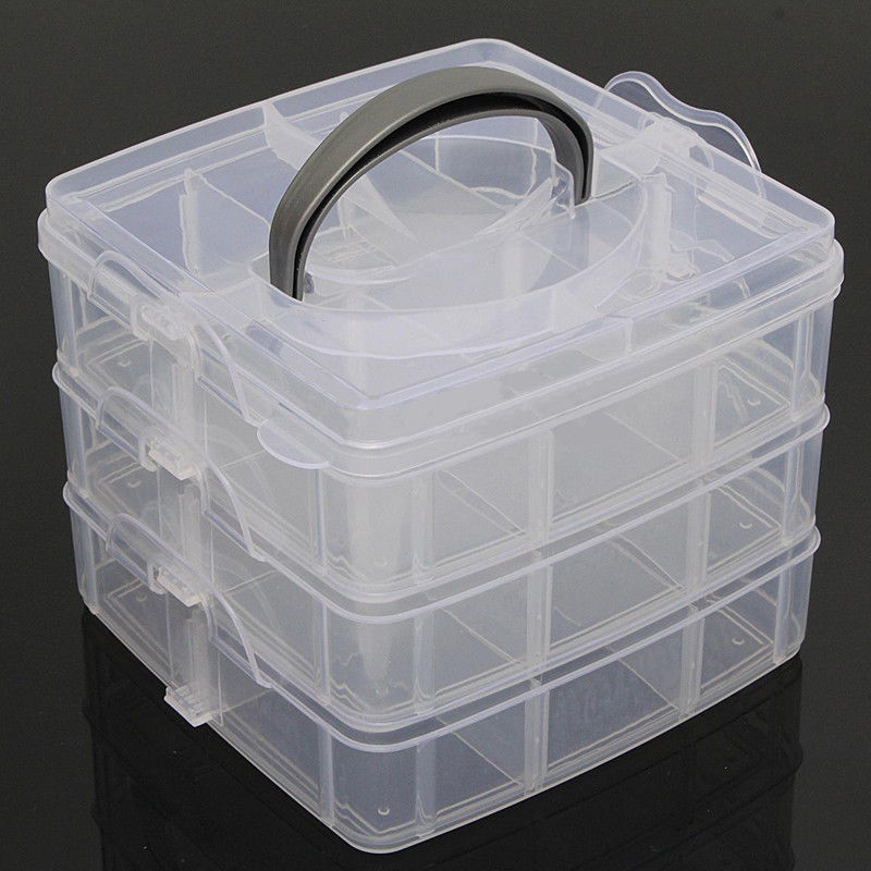 Clear Plastic Jewelry Bead Storage Box Container Organizer Case Craft Tool