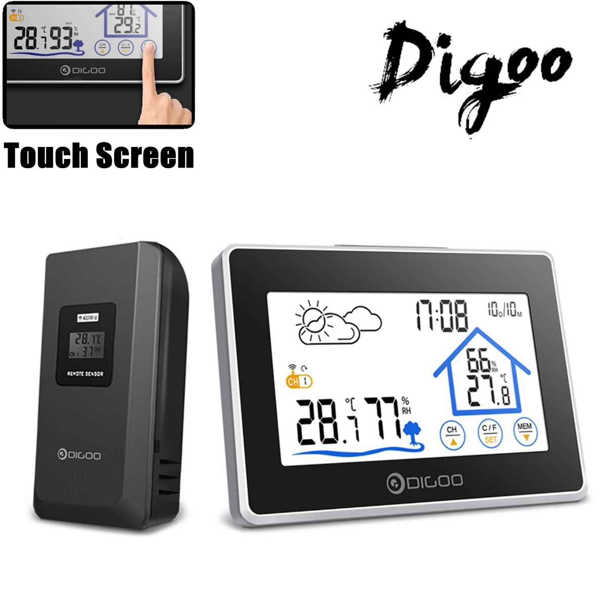 Digoo DG-TH8380 Wireless Weather Station,Thermometer Humidity Indoor & Outdoor (°C/°F) Forecast Sensor Clock,LCD Touch Screen