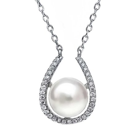 """Sterling Silver 10mm Genuine Freshwater Pearl Horse Shoe Pendant Necklace 18"""""""