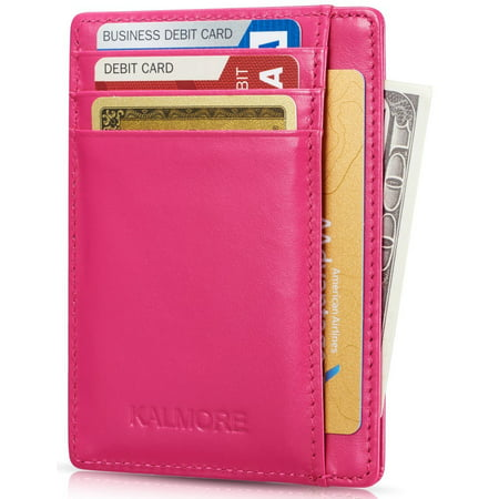Credit Card Holder with ID Window RFID Protected Genuine Leather Slim Wallet (Rose)