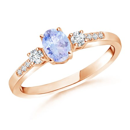 December Birthstone Ring - Classic Oval Tanzanite and Round Diamond Three Stone Ring in 14K Rose Gold (6x4mm Tanzanite) -
