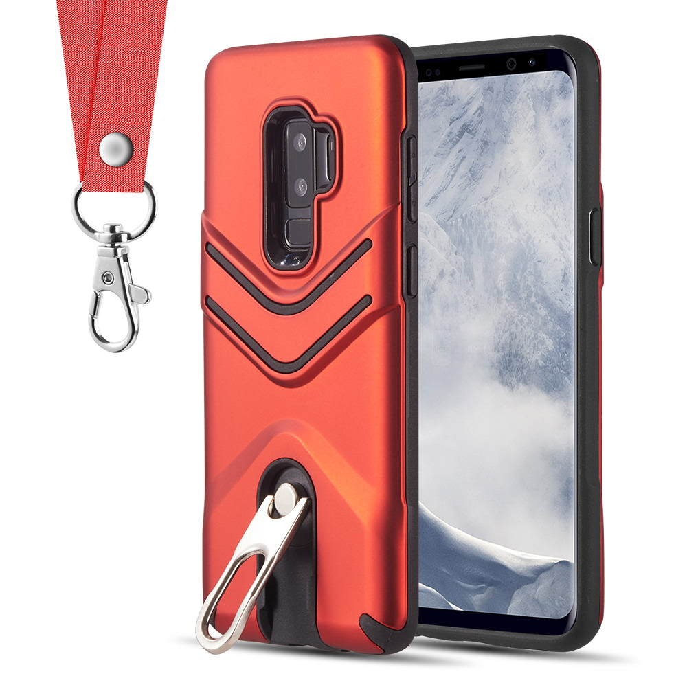 MUNDAZE Red Carry Me Convenient Rugged Stand Case for Samsung Galaxy S9 PLUS Phone