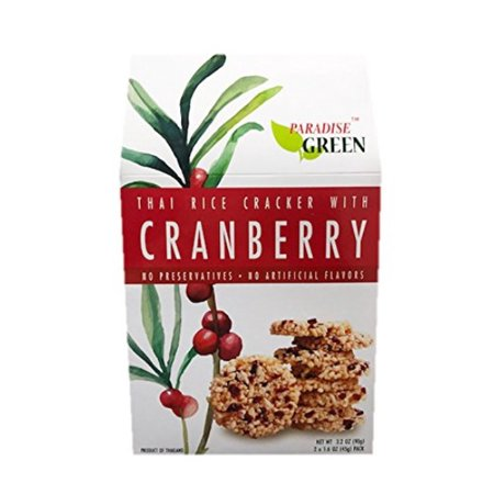 P. Green 100% Natural Fruit Rice Crackers 1 Pack, 3.2oz (Cranberry) Rice Shell Natural Light