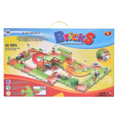 Costway 77PCS B/O Kids Child Plastic Brick Toys Electronic Building Blocks Railway Train - image 4 de 9