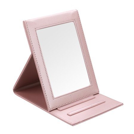 Fintie Portable Folding Vanity Makeup Mirror - PU Leather Folding Travel Cosmetic Mirror with Standing, Rose Gold (Cosmetic Mirror)