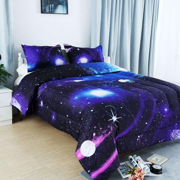 Full Queen 3pcs Galaxies Purple Comforter Set All Season Down