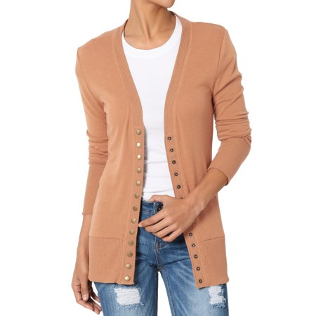 TheMogan Women's S~3XL Basic Snap Button V-Neck Long Sleeve Knit Cardigan - Belle Dress For Women