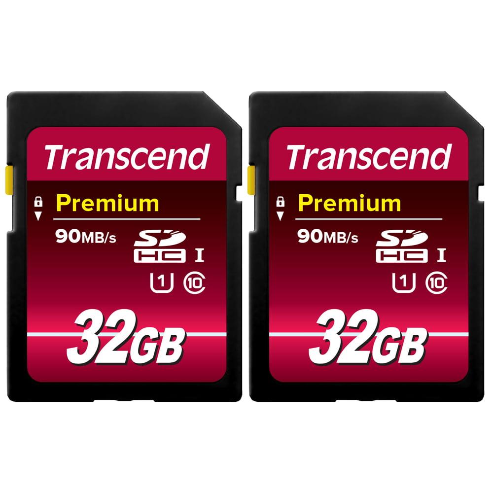 2X Transcend 32GB SDHC Class10 UHS-I 90 MB/s Memory Card