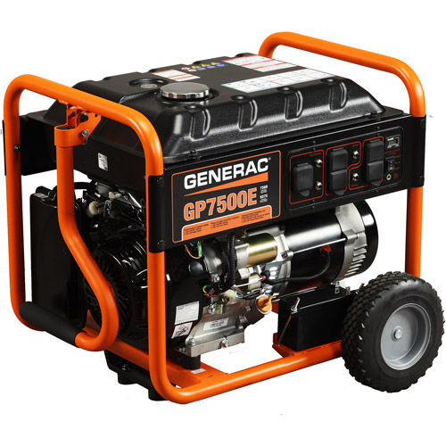 Generac 5943 GP7500E, 7,500 Watt Portable Gas Powered Generator with Electric Start (Non-CARB Compliant)