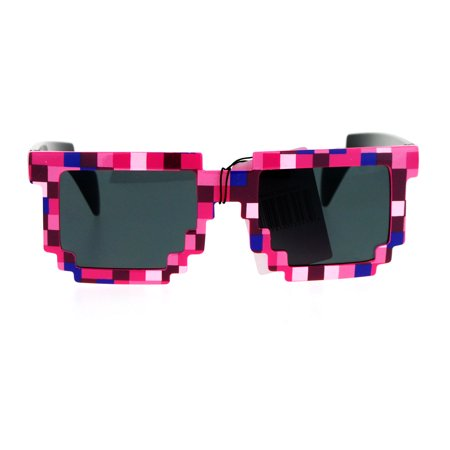 8 Bit Video (SA106 Pixelated 8 Bit Retro Video Game Horned Sunglasses Pink)