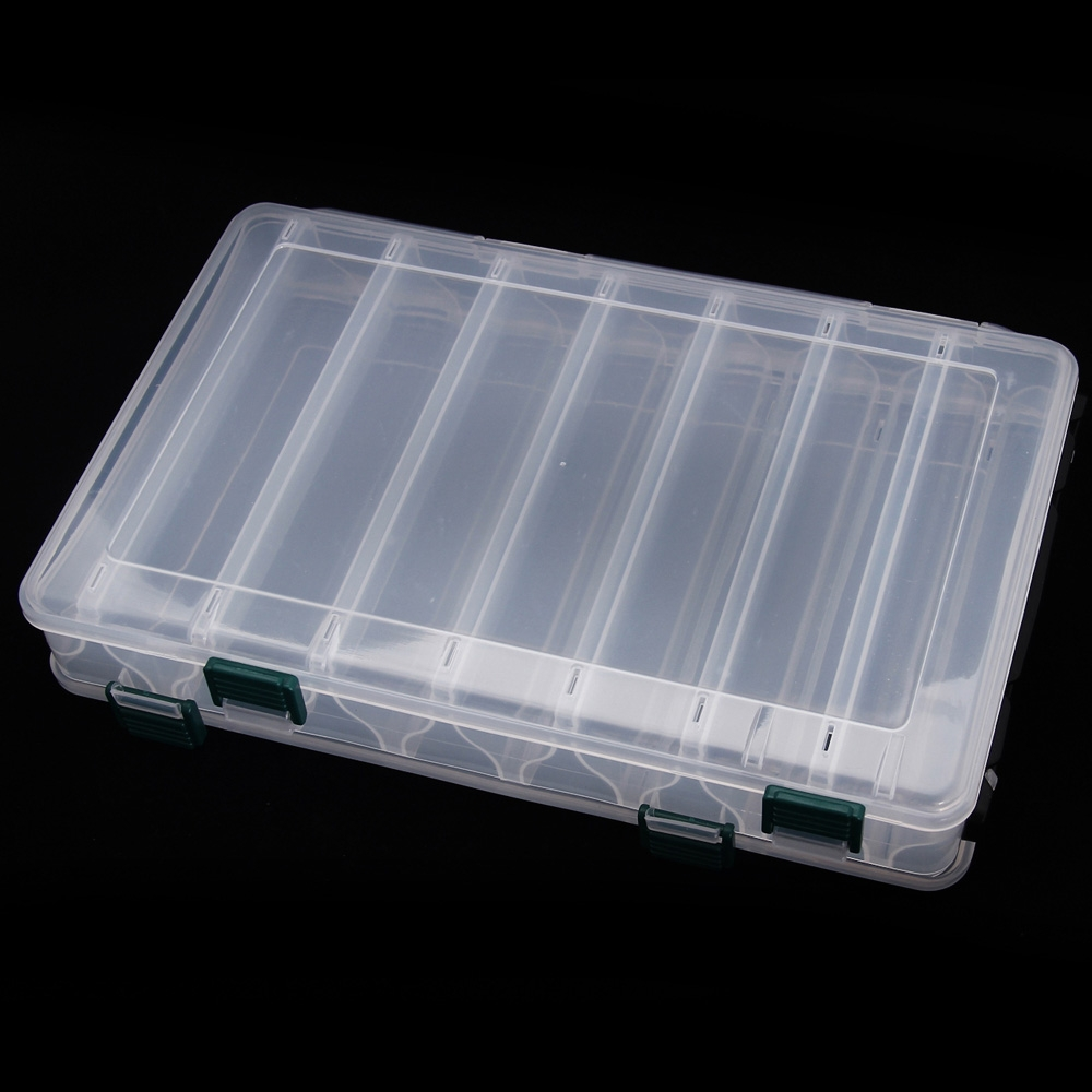 TOMSHOO Double Sided High Strength Transparent Visible Plastic Fishing Lure Box 14 Compartments with Drain Hole Fishing Tackle . by