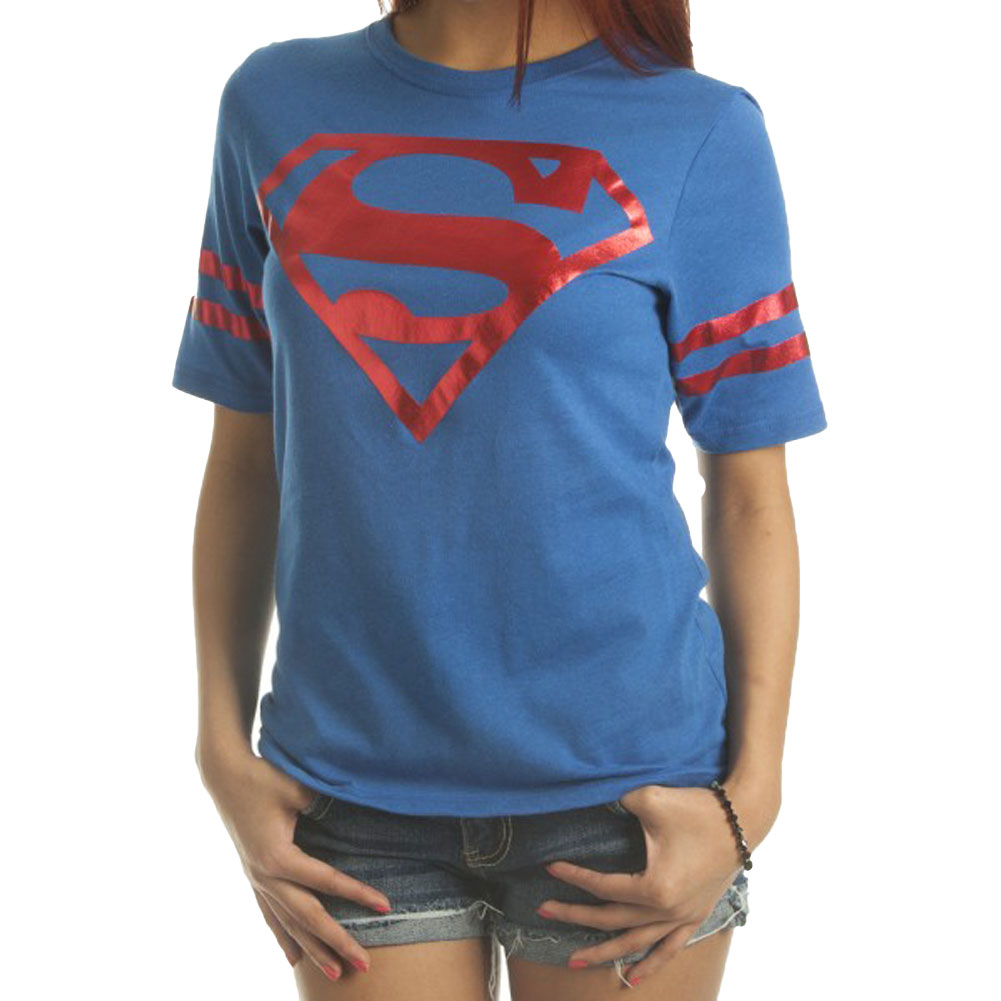 DC Comics Superman All Foil Juniors Athletic T-Shirt
