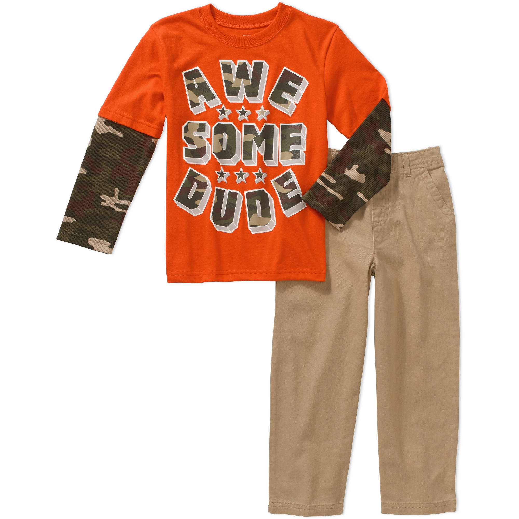 365 Kids From Garanimals Boys' Long Sleeve Graphic Hangdown Shirt and Pants Set