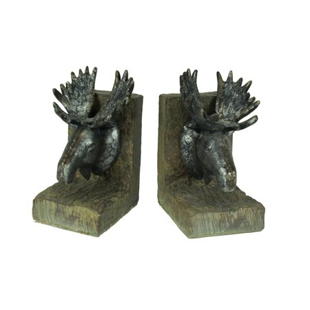 Rustic Distressed Moose Head Bookends (Eagle Head Bookends)