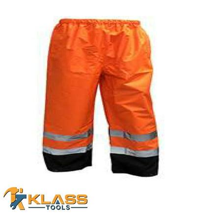 Small Waterproof Pants - Class E HI-VIZ Waterproof Pants-Orange (Size: Small)
