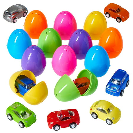 Prextex Easter Eggs Filled with Mini Pull back Vehicles](Plastic Eggs With Toys)