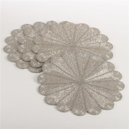 Saro Lifestyle 201.S15R 15 in. Flower Design Beaded Placemat, Silver - Set of 4 - image 1 of 1