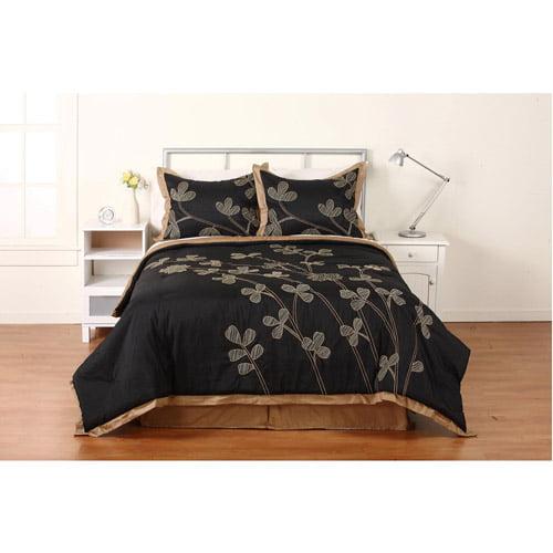 Hometrends Sketchy Floral Comforter Set, Black