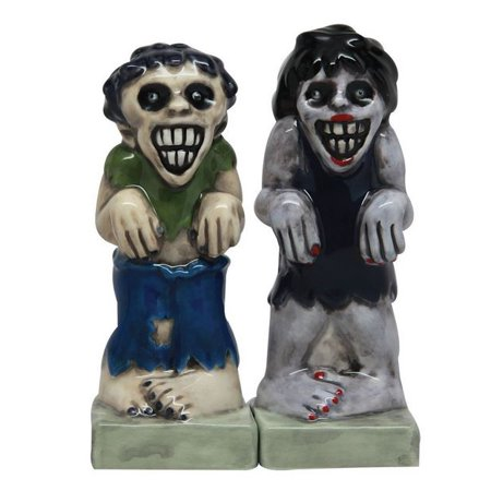 Zombies Magnetic Ceramic Halloween Salt and Pepper Shakers