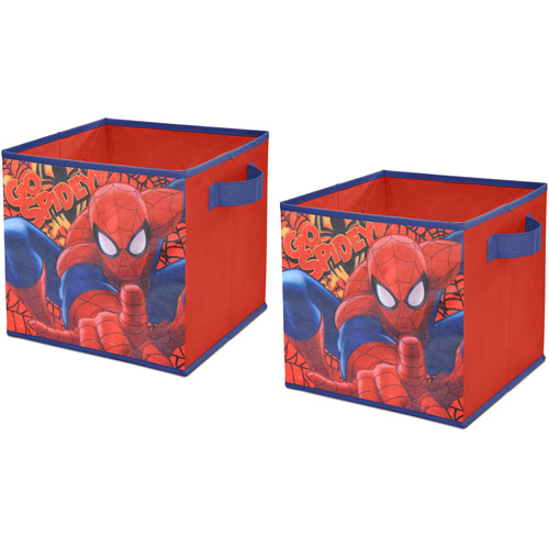 Marvel Spider-Man 2-Piece Collapsible Storage Cubes, Red