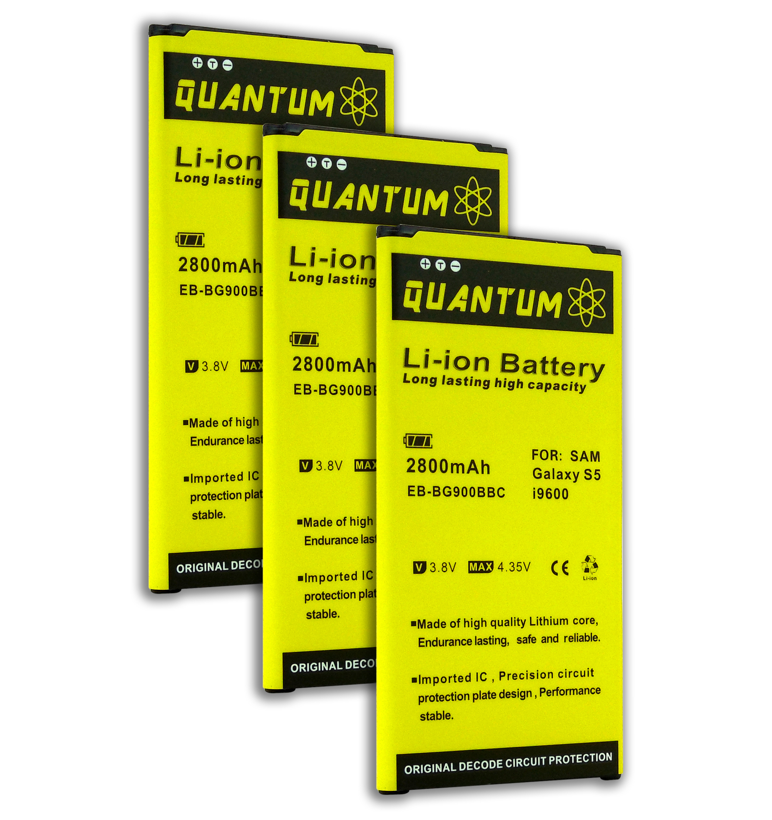 QUANTUM 3x 2,800mAh Li-Ion Batteries for the Galaxy S5, 12 MONTH WARRANTY